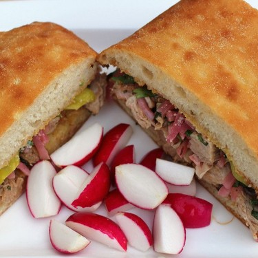 Toasted Focaccia Sandwich with Veal & Pickled Onions Recipe   SideChef