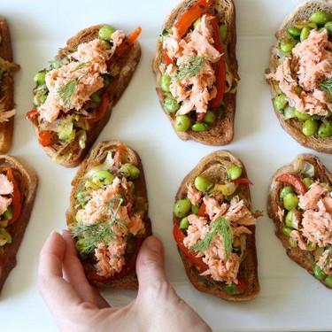 Salmon Crostini with Fava Bean Ragout Recipe   SideChef