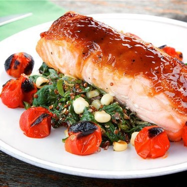 Maple Glazed Salmon with Corn Quinoa and Spinach Recipe   SideChef