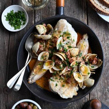 Monkfish with Citrus, Chorizo, and Clams Recipe   SideChef