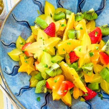 Tropical Fruit Salad with Sweet 'n Spicy Dressing Recipe | SideChef