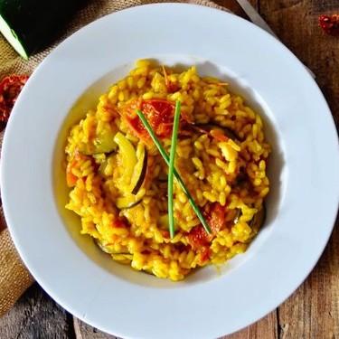 Saffron Risotto with Zucchini and Tomatoes Recipe | SideChef