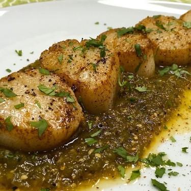 Seared Sea Scallops with Charred Salsa Verde Recipe   SideChef