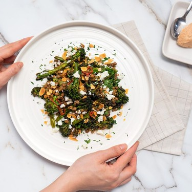 Warm Broccolini and Lentil Salad with Anchovy Butter Sauce Recipe   SideChef