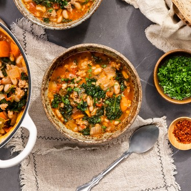Spicy Sausage White Bean Soup Recipe | SideChef