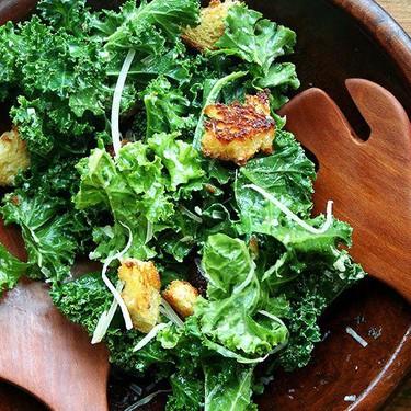 Kale Caesar Salad with Brioche Croutons Recipe   SideChef