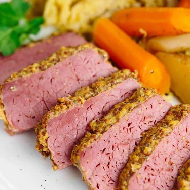 Slow Cooker Corned Beef with Guinness Mustard Recipe | SideChef