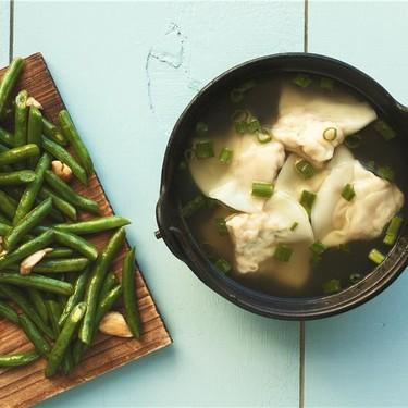 Shrimp Dumpling Soup and Green Beans with Garlic Recipe | SideChef