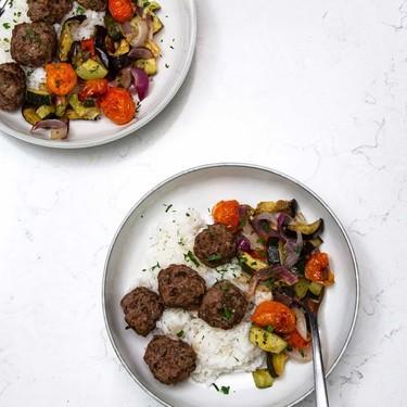 Beef Kofta Meatballs with Roasted Vegetables Recipe | SideChef