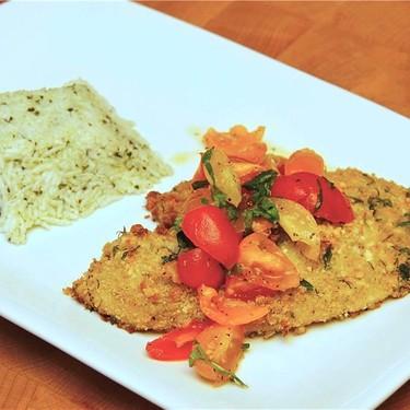 Italian Baked Tilapia Parmesan & Basil Pesto Rice Recipe   SideChef