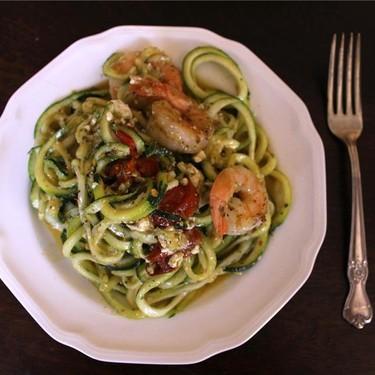 Roasted Tomato Pesto Zoodles with Sautéed Shrimp Recipe | SideChef