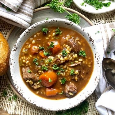 Slow Cooker Beef and Barley Stew Recipe   SideChef