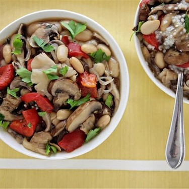 Mixed Mushroom Ragout over Garlic Parmesan Grits Recipe   SideChef