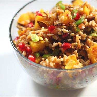 Roasted Acorn Squash & Pomegranate Farro Salad Recipe   SideChef