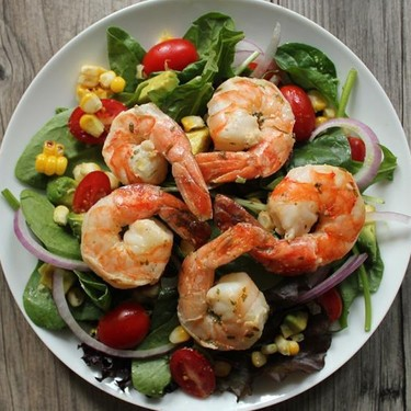 Summer Salad with Avocado, Corn and Grilled Shrimp Recipe   SideChef