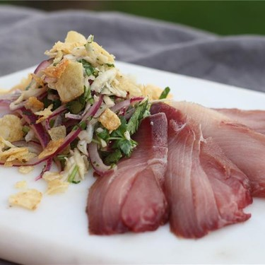 Lime Cured Hamachi with Kohlrabi Slaw Recipe | SideChef
