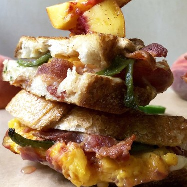 Smashed Peach and Poblano Grilled Cheese Recipe | SideChef