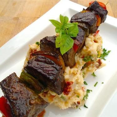Beef Kebab with Rainbow Puree Recipe | SideChef