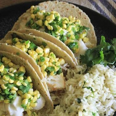 Sweet Corn Ceviche Fish Tacos & Cilantro Lime Rice Recipe | SideChef