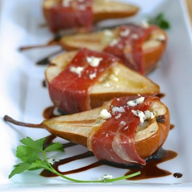 Blue Cheese Stuffed Bosc Pears with Balsamic Glaze Recipe   SideChef