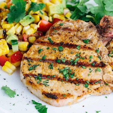 Spiced Grilled Pork Chops with Charred Corn Salad Recipe | SideChef