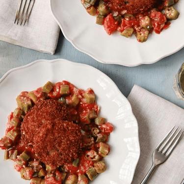 Chicken Croquettes with Tomato and Okra Gravy Recipe   SideChef