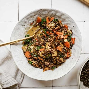 Creamy Spinach and Artichoke Black Lentils Recipe | SideChef