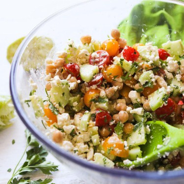 Tomato Cucumber Chickpea Salad Recipe | SideChef