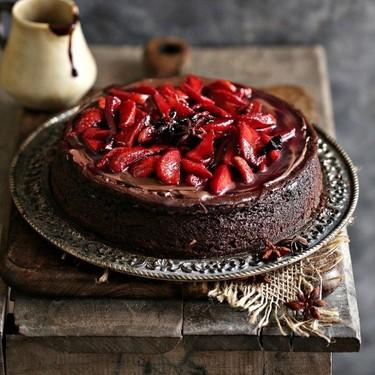 Dark Chocolate Cheesecake with Strawberries Recipe   SideChef
