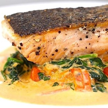 Seared Salmon with Creamy Crushed Tomatoes Recipe | SideChef