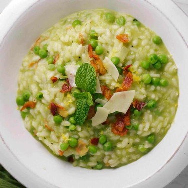 Creamy Pea and Bacon Risotto with Mint Recipe   SideChef