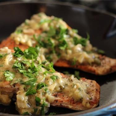 Pan Roasted Salmon with White Wine Caper Vinaigrette Recipe | SideChef