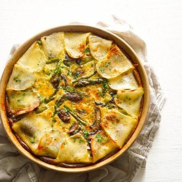 Potato Crusted Quiche with Asparagus and Mushrooms Recipe   SideChef