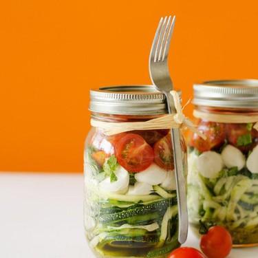Spiralized Zucchini Caprese Salad in a Jar Recipe | SideChef