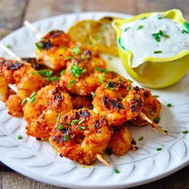 Spiced Shrimp Kabobs with Yogurt Aioli Recipe | SideChef