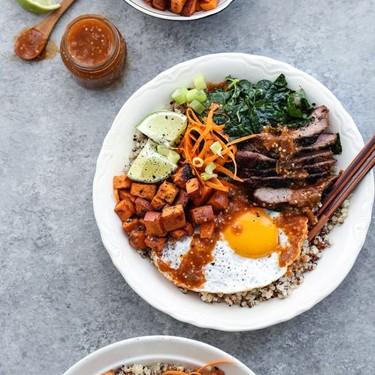 Quinoa, Miso Sweet Potatoes and Spicy Tomatillo Sauce Bibimbap Recipe   SideChef