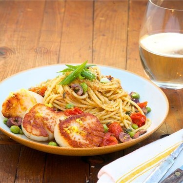 Seared Scallops with Spaghetti in a Tarragon Sauce Recipe   SideChef