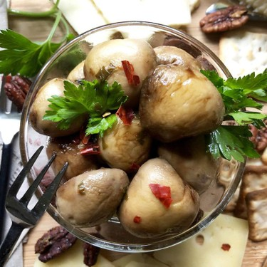 Marinated Mushrooms with Balsamic Drizzle Recipe | SideChef