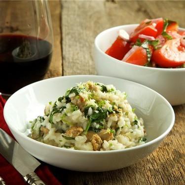 Turkey Sausage and Spinach Risotto, Tomato Salad Recipe | SideChef