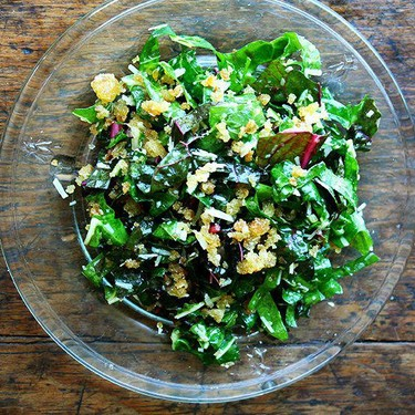 Swiss Chard Salad with Lemon, Parmesan & Breadcrumbs Recipe   SideChef