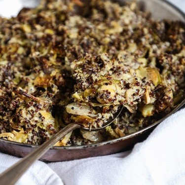 Quinoa Brussels Sprout Gratin with Cheddar Recipe | SideChef