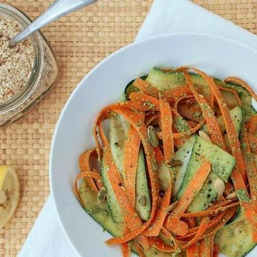 Carrot and Zucchini Ribbons and Cilantro Pepita Pesto Recipe | SideChef