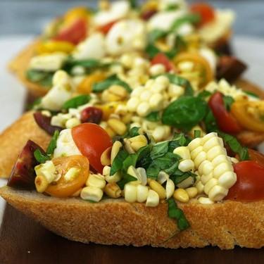 Corn, Tomato & Basil Mozzarella Bruschetta Recipe | SideChef
