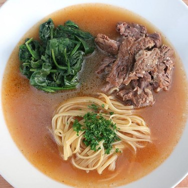 Smithy's Beef Rib Soup with Spinach and Pasta Recipe | SideChef