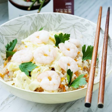 Low-Carb Stir-Fried Rice with Steamed Shrimps Recipe | SideChef