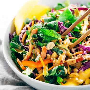Crunchy Thai Salad with Creamy Peanut Dressing Recipe | SideChef
