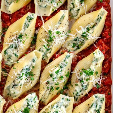 Spinach and Cheese Stuffed Shells with Meat Sauce Recipe | SideChef