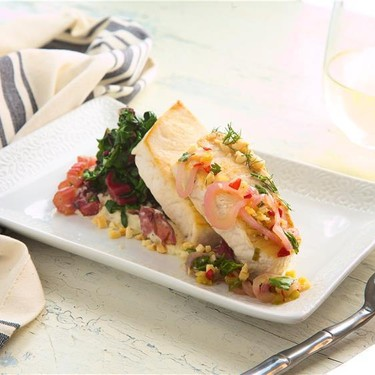 Swordfish with Herb Sauce with Smashed Potatoes Recipe | SideChef