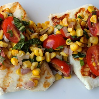 Grilled Halibut with Cherry Tomato and Corn Salsa Recipe | SideChef