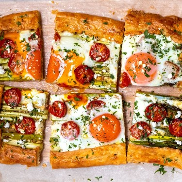 Asparagus Galette with Cherry Tomato and Baked Egg Recipe | SideChef